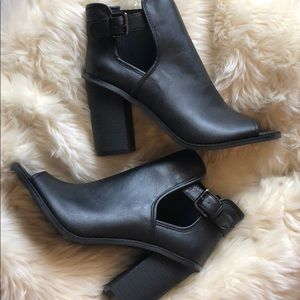 Forever 21 Faux Leather Black Peep Toe Boots NWOT